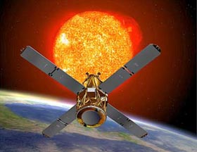 NASA rendering of RHESSI satellite. The space weather instrument is helping study the radiation from thunderstorms.