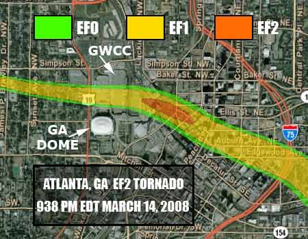 Portion of 2008 Atlanta tornado track