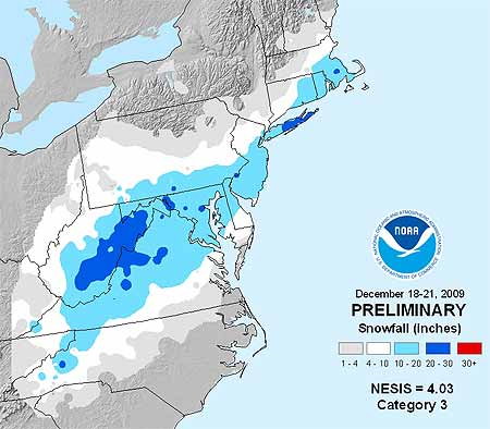 December 2009 winter storm snowfall accumulation map