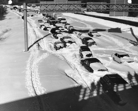 Cars and trucks stuck in snow on Route 128 near Needham, Massachusetts, following teh Blizzard of '78.