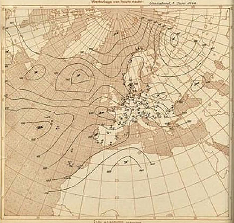 The German's European-Atlantic map at 00 UTC June 6, 1944, where the analysis over the North Atlantic appears not to be based on observations but intercepted American coded analyses.