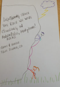"""A visitor's contribution to the """"Tell Your Weather Story"""" wall."""